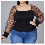 Black Cheetah blouse