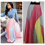 The Pleated Block Maxi Skirt